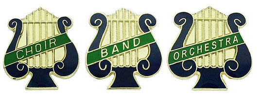 Choir, Band, Orchestra Lyre Shaped Pins