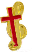 Gold Music Clef & Red Cross Pin
