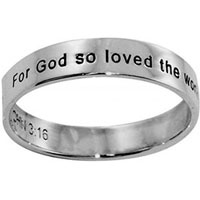Sterling Silver John 3:16 Spinner Ring