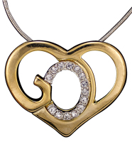 Gods Heart  Necklace w Stones Gold and Silver