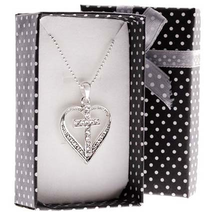 Cross and Heart Rhinestone Necklace - Boxed