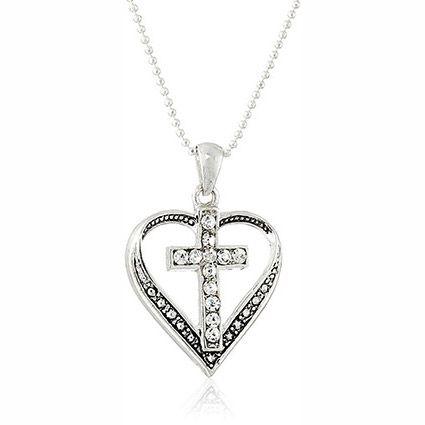 Cross in Heart Rhinestone Necklace