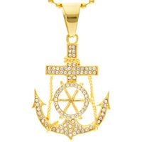 Rhinestone Mariner Anchor  Necklace Gold