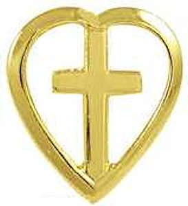 Gold Heart with Cross Lapel Pin White Background Lapel Pin