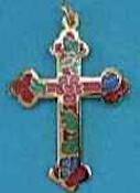 Enameled Budded Cross Necklace