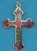 Enameled Budded Cross Necklace