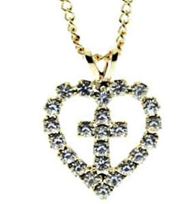Heart Rhinestone Cross Necklace