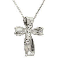 Infinity Cross Silver and Rhinestone Necklace