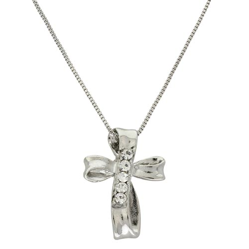 Infinity Cross Necklace Silver With Rhinestones
