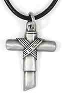 Silver Cross Necklace With Rope Center