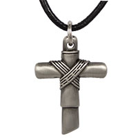 Pewter Cross Necklace With Rope Center