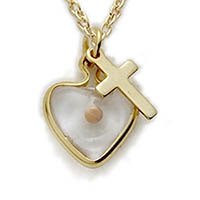 Gold Filled Mustard Seed Heart and Cross Necklace