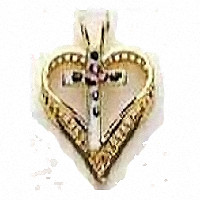 Gold Heart with Cross Necklace Jewelry