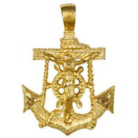 Men's Marine Anchor Crucifix Necklace Gold