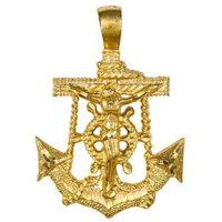 Men's Marine Anchor Crucifix Necklace Gold