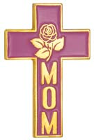Mom Pink Cross With Rose Pin