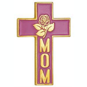 Mom Christian Cross Pin With Rose Pink