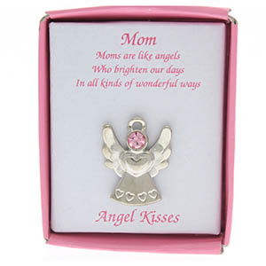 Mom Angel Pin with Pink Crystal Boxed