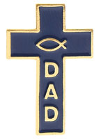 Dad's Christian Cross with Fish Pin