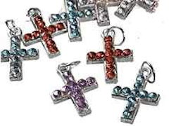 Rhinestone Cross Charm