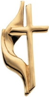 14K Gold United Methodist Cross Pin