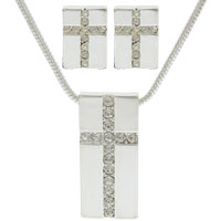 Cross Necklace Earring Set - Rhinestones & Silver