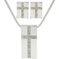 Cross Necklace Earring Set - Rhinestones & Silver