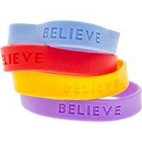 Believe Silicone Bracelets (Pkg of 12)