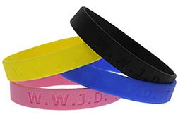 WWJD Silicone Christian Bracelets in Colors