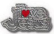 Love Jesus silver pin