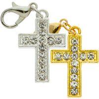 Rhinestone Cross Charms Gold or Silver