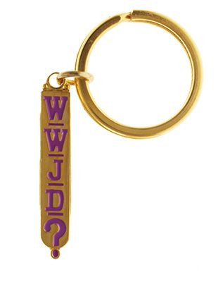 WWJD Gold Key Chain or Jacket Pull Jesus
