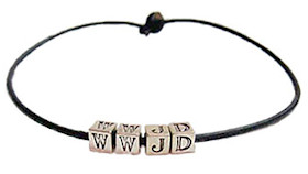 WWJD Silver Blocks Jesus Bracelet
