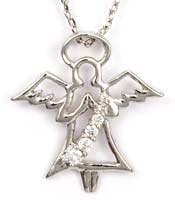Cubic Zirconia Guardian Angel Necklace