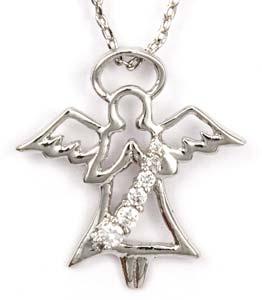 Cubic Zirconia Guardian Angel Necklace