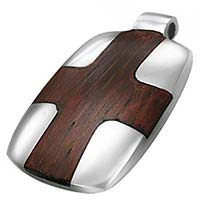 Stainless Steel & Wood Cross Pendant