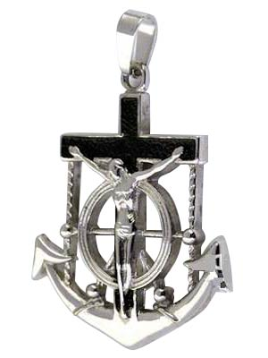 Marine Anchor Crucifix Hope Necklace Steel