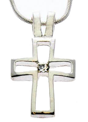 Silver Cross Rhinestone Necklace