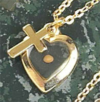 Gold Heart and Cross Mustard Seed Necklace