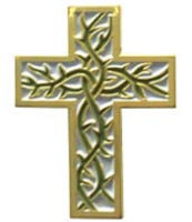 Thorn Cross Pin Gold - Jesus Cross