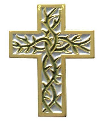 Thorn Cross Pin Gold - Jesus Cross Easter