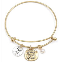 Christ Wire Bangle Bracelet Gold