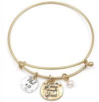 Christ Wire Bangle Bracelet Gold