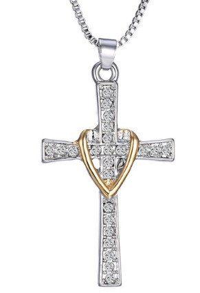 Large Rhinestone Cross & Heart Necklace