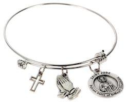 Healing Saints Bangle Bracelet Silver