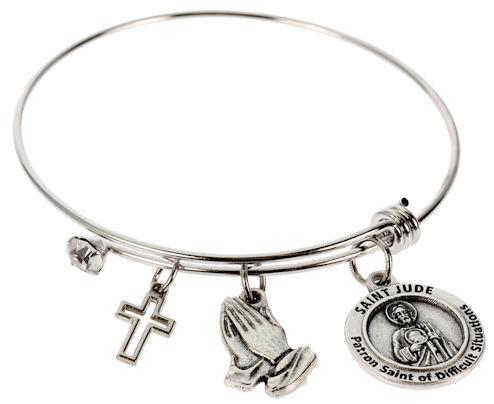 Healing Saints Bangle Bracelet Silver