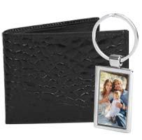 Black Leather Wallet & Key Chain Men's