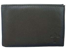 Black Leather Cross Wallet Men's