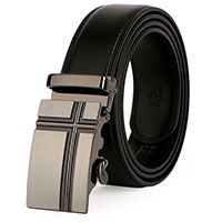 Cross Adjustable Belt Black Leather Men's