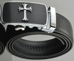 Cross Adjustable Belt Black Men's Leather
